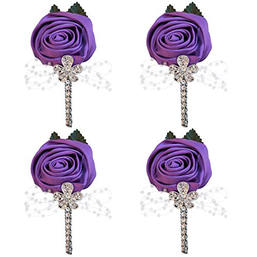 WIFELAI-A 4 Pieces/lot Factory Ivory Satin Flower Lapel Pin Mens Wedding Boutonniere Handmade Wedding Brooch Buttonhole Grooms Boutonnieres XH0677Y (Purple, 4)