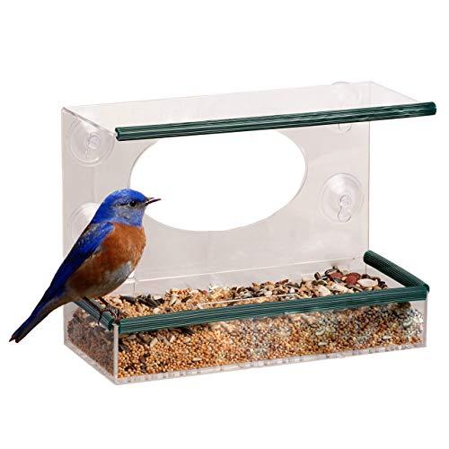 garden mile® Comedero de cristal para pájaros de metacrilato a prueba de ardillas, para colgar en la ventana, estación de alimentación de pájaros, mesa o cacahuete con ventosas colgantes