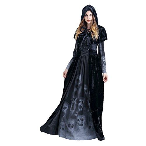 Manfis Disfraz de bruja  Vestido con cordones, capucha y fantasmas impresos en el dobladillo y las mangas para mujer, negro, L