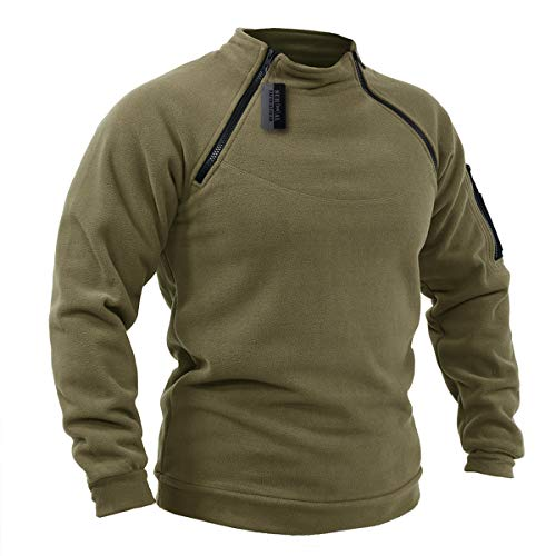 ZAPT Tactical Fleece Jacket Military Polartec Thermal Pro Thick Warm Tech Fleece (S, Coyote Brown)