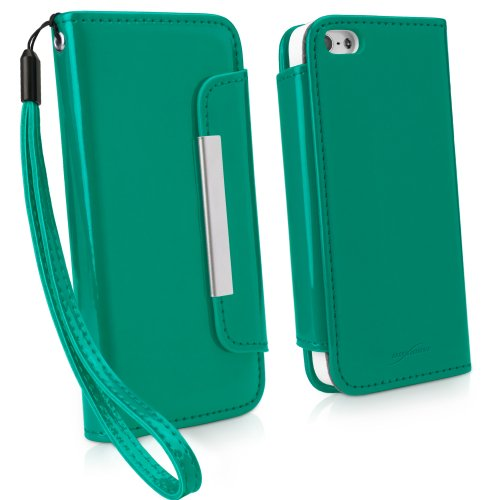iPhone 5s Case, BoxWave® [Patent Lederen Clutch Case] Vegan Lederen Polsband/Portemonnee Cover voor Apple iPhone 5s, SE, 5 - Emerald Green