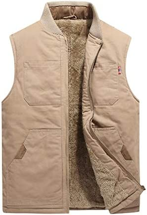 LYLY Vest Women Autumn Winter Men Vest Coat Warm Sleeveless Jacket Casual Men Vest Coat Fleece Army Green Waistcoat Big Size 6XL Vest Warm (Color : Khaki Plus, Size : XXL)