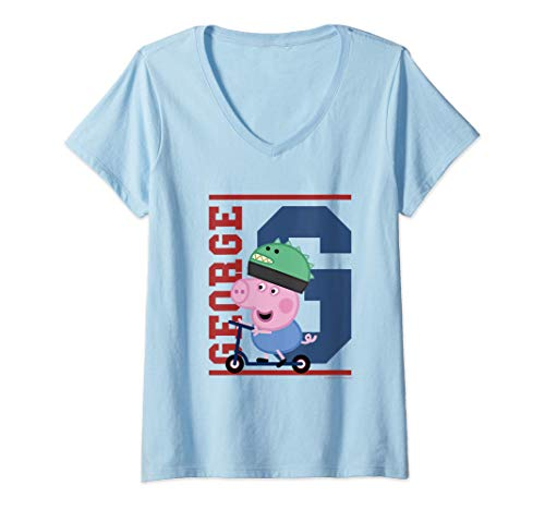 Mujer George Pig Scooter Camiseta Cuello V