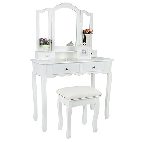 Flyelf Tavolino da Trucco, con 3 Specchi 4 Cassetti 1 Sgabello, Toelette, Scrittoio con Specchi, Make-up Tavolino con Specchio Pieghevole 90 x 145 x 40 cm