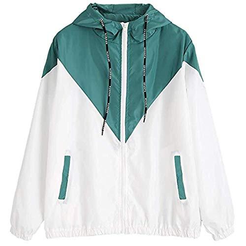 Señoras De Manga Larga Casual Patchwork Sportwear Windbreaker Modernas Casual Outwear Abrigo con Capucha Moda 2020 Ropa De Mujer (Color : Blau Grün, One Size : L)