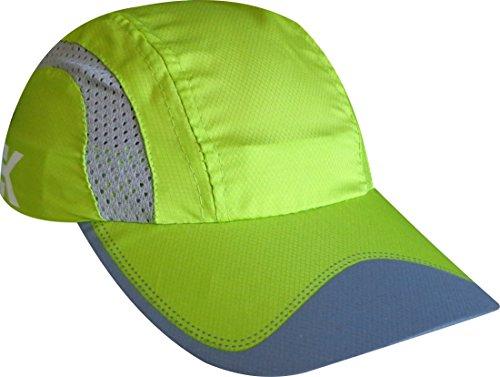 EKEKO Gorra de Running Xrace, vsystem, Tejido microperforado Transpirable con Detalles Reflectantes, Running y Deportes en General. (Verde)