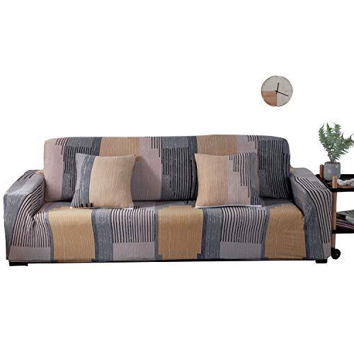 ARNTY Fundas Sofa Elasticas 1/2/3/4 Plazas,Cubre Sofa,Fundas para Sofa,Decorativas Fundas de Sofa Ajustables Protector para el Sofa Chaise Longue (Vistoso-Líneas, Funda Sofa 1 Plaza:90-140cm)