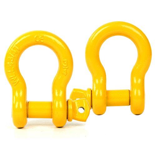 FreeTec Bogen Stahl Schäkel 4,75t Tragfähigkeit perfekt Befestigen Abschlepp- hebegurte Fesseln D Ring zur Bergung Abschleppen,2 Stk. (Gelb)