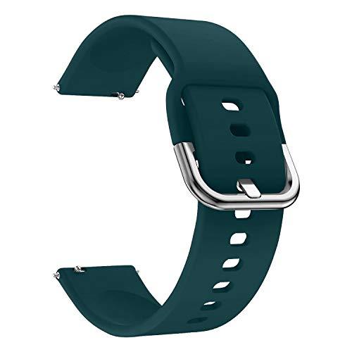 EWENYS Correa de repuesto para deportiva silicona suave de smartwatch, Compatibile con Samsung Galaxy Watch Active 2 40mm 44mm / Garmin vivoactive 3 / Amazfit GTS GTR 42mm (20mm, Verde oscuro)