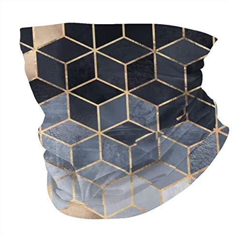 Lesif Seamless Face Bandana Head Wrap Scarf Headband Neck Warmer Gaiter Headwear Balaclava For Outdoors Sports,Soft Blue Gradient Cubes