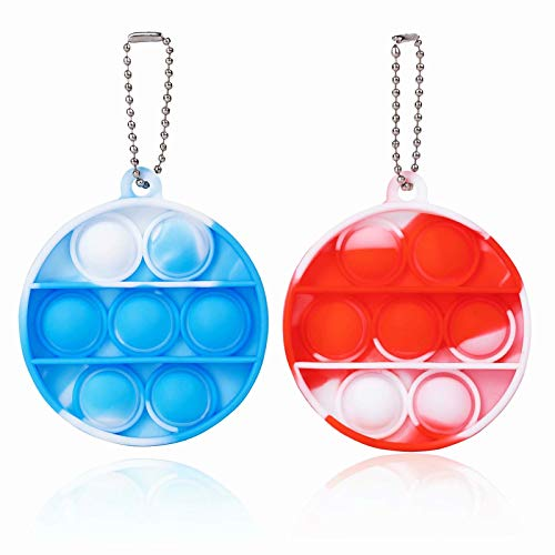ZNNCO Push Pop Bubble Fidget sensorisches Spielzeug, Mini Fidget Poppers Schlüsselanhänger, Autismus, spezielle Bedürfnisse, Stressabbau für Kinder und Erwachsene (Band Orange + Blau rund)