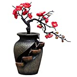 Yushen Zen Water Fountain Simulation Plum Blossom Plant Vase Tabletop Waterfall Fountain Polyresin Decor for Home Office Bedroom