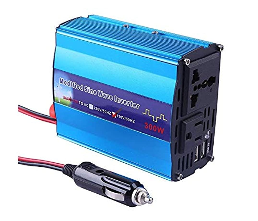 Eternal Home 300W Car Power Inverter DC 12V to 110V AC Charger Electric Inverter with 4.8A Dual USB Charging Ports and 3 Pin Plug - Blue Aluminum Alloy Body