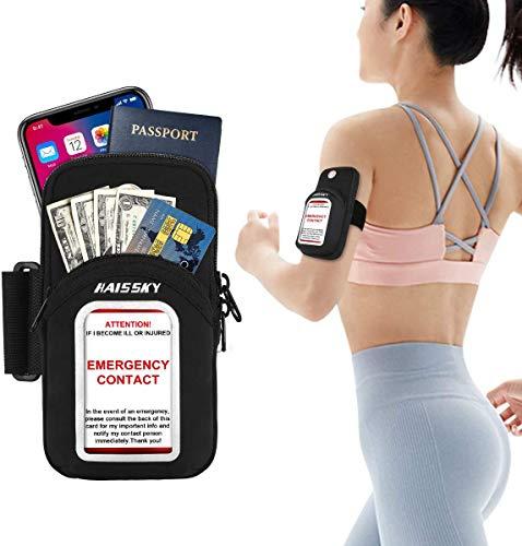 Haissky Sportarmband für das Laufen, multifunktionale Taschen, schweißfestes Armband mit Einer einzigartigen transparenten Tasche und Einer Notfall-Informationskarte bis zu 6.8