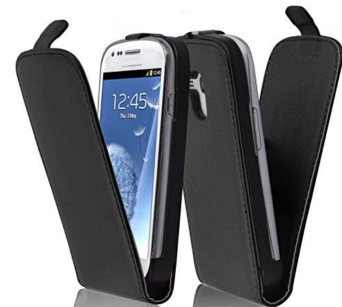 Cadorabo Funda para Samsung Galaxy S3 Mini in Negro DE Caviar - Cubierta Proteccíon Estilo Flip de Cuero Sintético Liso - Etui Case Cover Carcasa