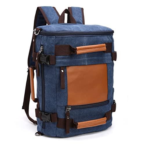 WQXD Hombres Vintage Mochila de Lona de 14 Pulgadas Laptop Bolso Bolso de Libros multifunción Escuela Casual Escuela universitaria Fin de Semana Día de Viaje (Color : Dark Blue, tamaño : One Size)