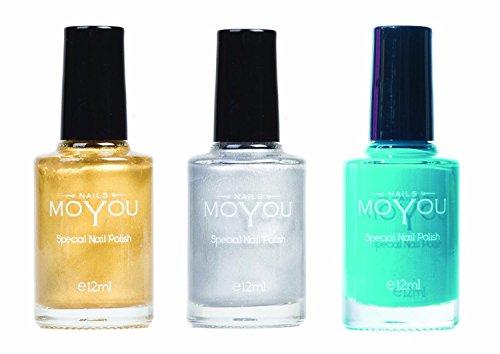 MoYou Nails Bundle of 3 Stamping Nail Polish: Oro, Argento e Verde Tiffany Colori utilizzato dai...