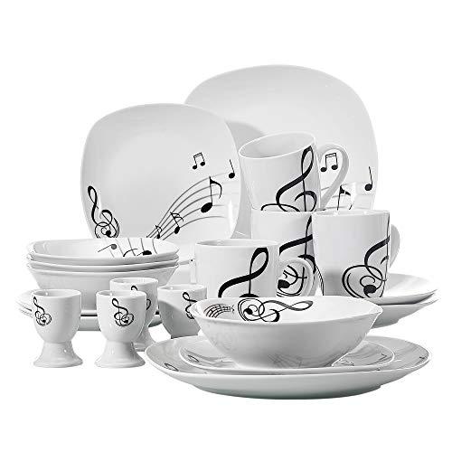 VEWEET Melody Piatti Servizio in Porcellana Stoviglie Set 20 Pezzi con 4 Portauova, 4 Tazze Mugs 350 ml, 4 Ciotola per Cereali, 4 Piatti e 4 Piatti da Dessert per 4 Persone