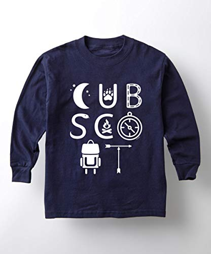 Boy Scouts of America Cub Scout Icons - Youth Long Sleeve T-Shirt Navy