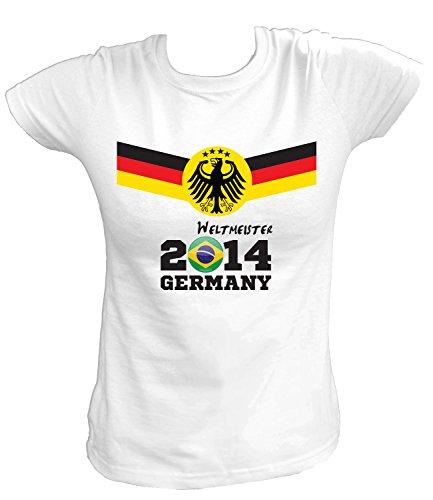 Artdiktat Damen Deutschland Fan T-Shirt - Fussball Weltmeister 2014 Germany - Trikot Ersatz - Wunschname und Nummer Größe 4XL, weiß