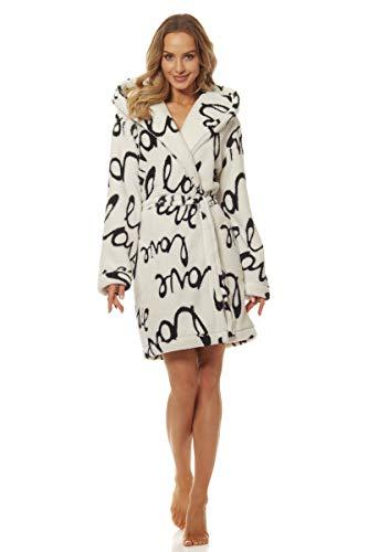 L&L - 9135 Peignoir de Luxe Dream Star en Tissu éponge pour Femmes. Extrêmement léger. Robe de Chambre à Capuche pour Dames. (Blanc, L)