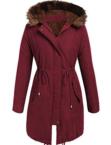 Beyove Damen winter-warme hoodie mit kunstpelzfutter unten parka outdoor-long jacket coats x-large a3 - weinrot