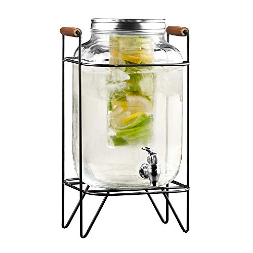 Style Setter 210741-GB 2 Gallon Infuser Glass Beverage Dispenser with Metal Stand & Lid, 8x9x17, Clear