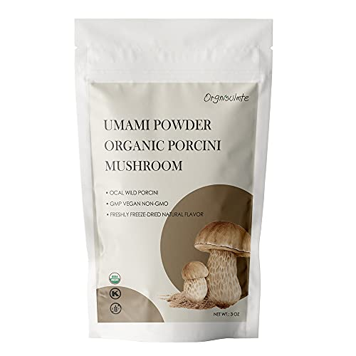Orgnisulmte Organic Dried Porcini Mushrooms Powder 3 Oz,Wild Grown Premium Quality Umami Powder,Hand Picked,All Natural Porcini Powder 3Oz(85g)