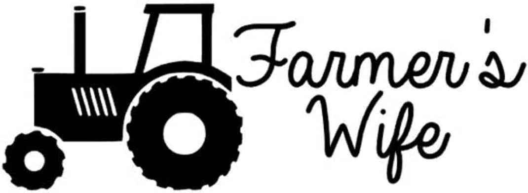 Farmers Wife Vinyl Sticker Decal for Laptop, Window, Bumper and Furniture. (Black, 6-inches)