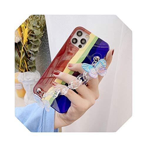 Rainbow Bracelet Phone Cases para iPhone 12 11 pro max 12mini X XS XR 7 8 6 6S Plus caso ins popular cadena contraportada -E con cadena-para iphone XS MAX