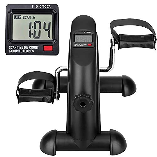 Himaly Minibike Pedaltrainer Heimtrainer Bewegungstrainer Arm- und Beintrainer Fahrradtrainer Fitness Fahrrad Fitnessgerät mit LCD-Monitor Einstellbarer Widerstand Heimfahrrad Trainingsgerät für Büro