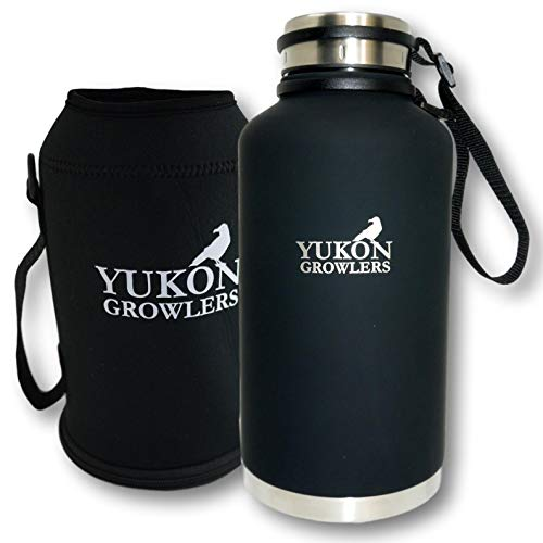 Yukon Growlers Insulated Beer Growler – Keeps Beer Cold and Carbonated for 24+ Hours – Keeps Drinks Hot for 12 Hours – Stainless Steel Water Bottle with Carrying Case and Improved Lid – 64 oz