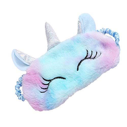 FORLADY Máscara de Dormir Mujeres Unicornio Máscara de Ojos de Felpa Sombra de Dibujos Animados Sombra de Ojos para Niños Adultos Felpa (unicornio colorido-azul claro)