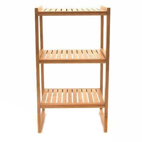 Storables Bamboo Latitude Shelf, 3-Tier, Stackable Shelf Unit for Bathroom, Office, Bedroom, or Living Area, Set of 2 Three-Tiered Units.