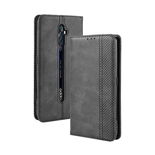 LAGUI Kompatible für Oppo Reno2 Z Hülle, Leder Flip Hülle Schutzhülle für Handy mit Kartenfach Stand & Magnet Funktion als Brieftasche, schwarz