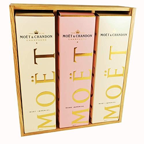 Moet & Chandon - 2 * Impérial Brut/Impérial Rosé en caja - En caja de madera