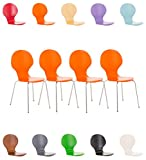 CLP Set De 4 Sillas De Comedor Apilable Diego I 4 Sillas De Conferencia con Asiento De Madera I 4 Sillas De Cocina con Base De Metal I Color: Naranja