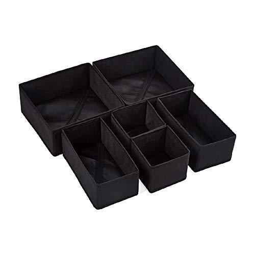 Qisiewell Caja de almacenamiento para ropa interior y calcetines, 6 cajones, organizador, armario organizador, caja plegable para calcetines y corbatas, lencería y pequeños accesorios (negro oscuro)