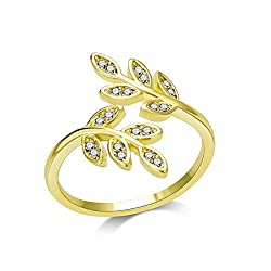 Made with Trust. Gold Leaf Ring with Crystals from Swarovski by Philip Jones. Buy with confidence with our 1-year guarantee and receive your money back if you are not 100% happy with your ring. Our free delivery and fast dispatch ensure your ring wil...