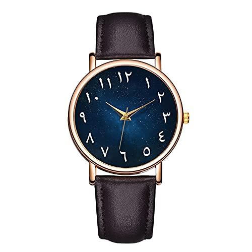 Msltely Relojes de Pulsera Nuevos números árabes de Fahion Las Escalas de los Hombres Miran el Reloj de Cuero con Reloj de Cuarzo analógico Calendario Regalo (Color : Dark Brown 2)