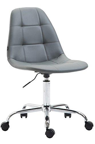 CLP Bürostuhl Reims Mit Kunstlederbezug I Schreibtischstuhl Mit Laufrollen Und Gestepptem Sitz I Höhenverstellbarer Drehstuhl, Farbe:grau