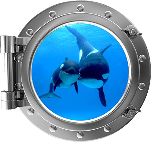 """24"""" Porthole 3D Window Wall Decal Killer Whale & Cub SILVER Port Scape Orca Baby Whale Ocean Sea Animal Wall Art Peel and Stick Kids Room Decor"""