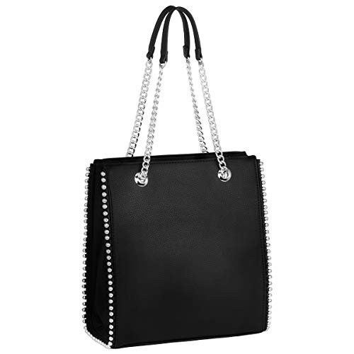 CRAZYCHIC - Borsa a Mano Borchie Rivetti Donna - Borsa Spalla Catena - Shopper Tote Stud Sacchetto PU Pelle - Shopping Bag Borsetta Medium Capacità - Elegante Moda Tendenza Bella - Nero