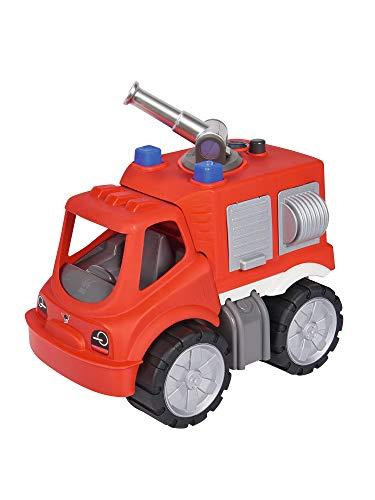 BIG - Power-Worker Feuerwehr Löschwagen - großes Spielzeug Auto mit Wasserspritze, Reifen aus Softmaterial, rot, für Kinder ab 2 Jahren