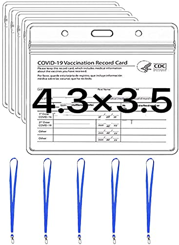 Vaccination Card Protector 4X3 in Immunization Record Vaccine Card Holders Horizontal Badge ID Name Tag Clear PVC Sleeve Waterproof Pouch Resealable Zip 5 Lanyard Slots for Events Travel (5 Pack)