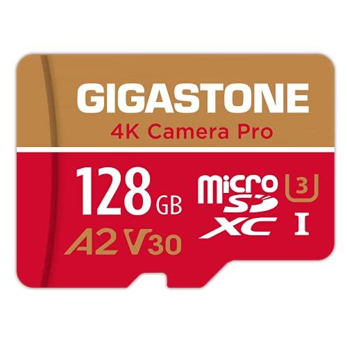 Gigastone Scheda di Memoria Micro SDXC da 128 GB, 4K Telecamera Pro Serie, A1 U3 V30, Velocità Fino a 100/50 MB/s. (R/W) con Adattatore SD. Per Telefono, Fotocamere Videocamera, Tablet, Gopro, Switch