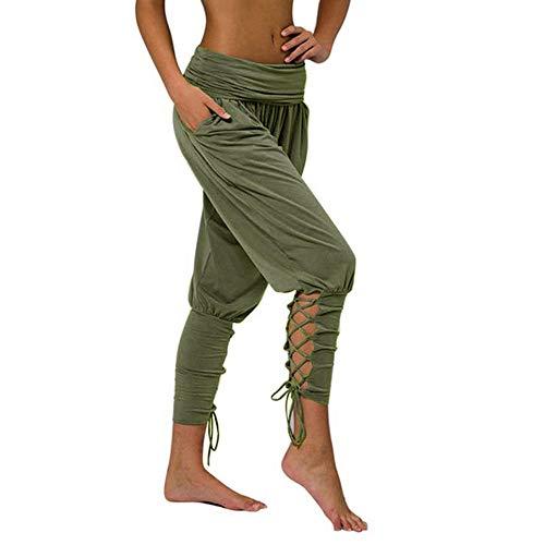 バッター ヨガピラティスパンツ女性ソフトソリッドレースアップパンツジムフィットネス緩い包帯ハイウエストポケットパンツ 女性のためのブーツカットヨガパンツ Hyococ (Color : Army Green, Size : X-Large)