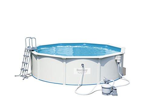 Bestway Hydrium Pool Set, rund, mit Sandfilteranlage, Leiter und Bodenplane, weiß, 460 x 120 cm