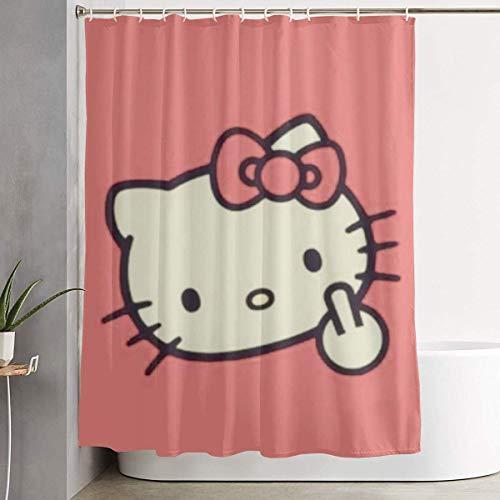 pingshang Lustiger Stoff-Duschvorhang Hello Kitty Fuck Wasserdichtes Badezimmerdekor mit Haken 60 x 72 Zoll