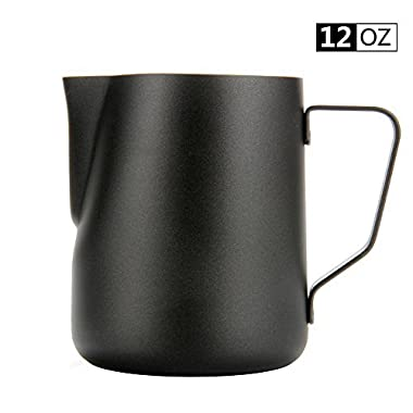 Espresso Coffee Milk Frothing Pitcher,WeHome Stainless Steel Creamer Macchiato Cappuccino Latte Art Making Pitcher Cups Perfect Christmas Gift for Your Family and Friends,12 oz/350ML